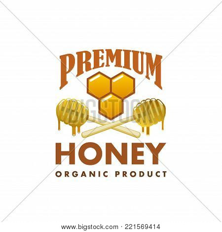 Honey organic beekeeping farm product icon template. Vector isolated of bee hive honeycomb and wooden dipper spoons with honey splash drops for apiary beekeeper packaging label design