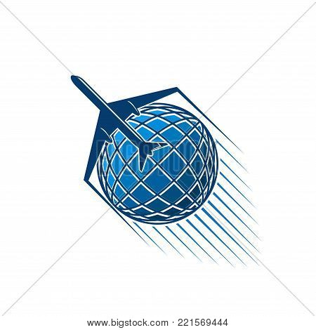 Airplane and blue world globe icon for aviation or air transportation and post mail logistics or delivery service and company. Vector isolated aircraft flying around earth with jets