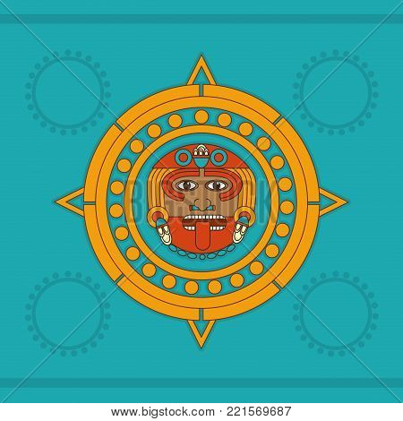 Calendar of  maya culture and mexican landmark theme Vector illustration
