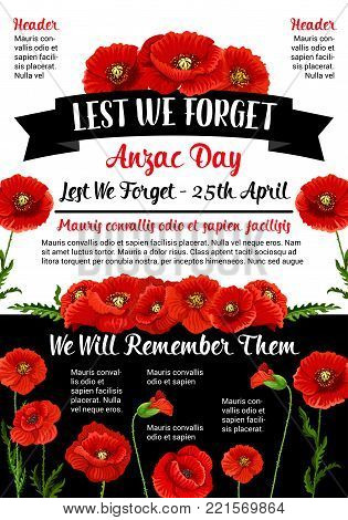 Anzac Day memorial day card and Lest We Forget text banner for 25 April of Australian and New Zealand war soldiers remembrance anniversary. Vector red poppy flowers symbols for Australia Anzac Day