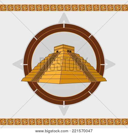 Pyramid temple of  maya culture and mexican landmark theme Vector illustration