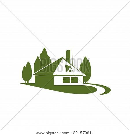 Eco village or green house real estate company or building and construction agency icon design template. Vector house in green forest trees for landscape designing or urban horticulture