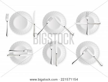 Realistic cutlery and signs of table etiquette, vector icons isolated on white background. Fork, knife and dish plate set. Design template, mockup of tableware. Top view.