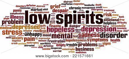 Low spirits word cloud concept. Vector illustration on white