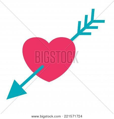 Heart and arrow cupid. Symbol of love, union of destinies, betrothal and wedding. Flat vector cartoon illustration. Objects isolated on white background.