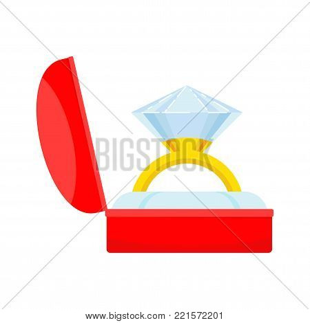 Hands holding gift box with gold wedding ring. Proposal for marriage, matchmaking and betrothal. Flat vector cartoon illustration. Objects isolated on white background.