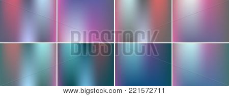 Set of shiny pearl pink turquoise colors gradient backgrounds. Bright abstract vector. Glamour design texture for poster, web and any art idea.