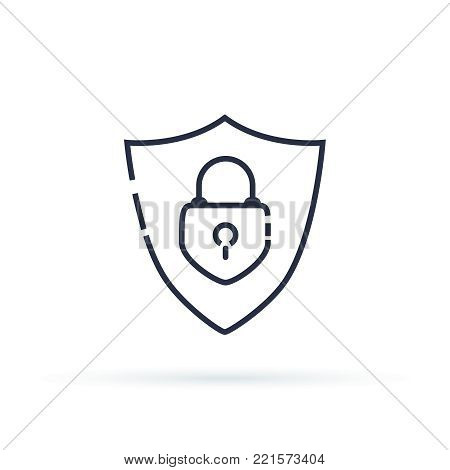 Abstract security vector icon illustration isolated on black background. Shield and lock security icon. Safety and reliability symbol concept. Line pictogram of defence and privacy protection