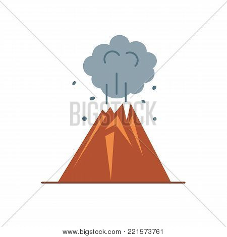 Volcano eruption icon in flat style. Colorful mountain symbol on white background