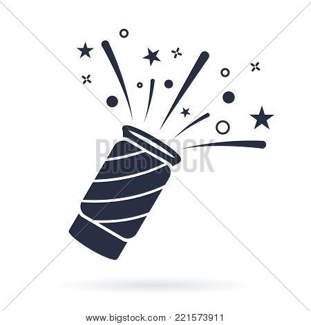 Confetti popper icon vector, filled flat sign, solid pictogram isolated on white. Celebration symbol, logo illustration. Pixel perfect. Exploding party flapper Surprise with streamers and confetti.