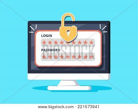 Desktop computer with unlocked password bubble notification, flat cartoon design of pc screen with open lock and password field. Robbing computer, stealing confidential data