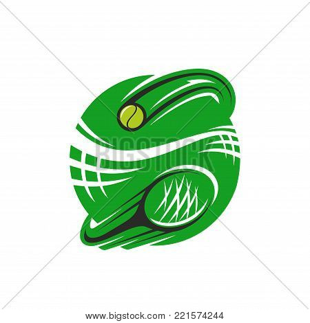 Tennis sport club icon design template of green playing racket and yellow ball. Vector isolated badge for tennis fan club or sport team and championship tournament