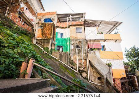 Fragile residential structures of Santa Marta community in Rio de Janeiro