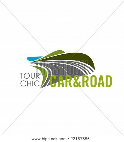 Road travel or car journey trip icon for travel agency. Vector design template of highway road in green and blue sky horizon for holiday car tourism or vacations outdoor adventure