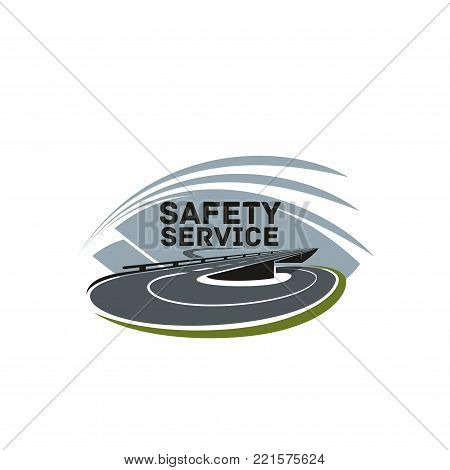 Road safety or highway construction company icon design template. Vector isolated symbol of transportation road or motorway with traffic lane marking for car journey travel agency