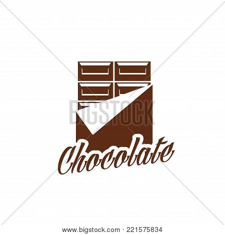 Chocolate bar candy comfit in wrapper icon, Vector chocolate product label design template for hand made choco sweets, patisserie or confectionery company and desserts packaging poster