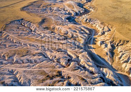fall or winter scenery, aerial view