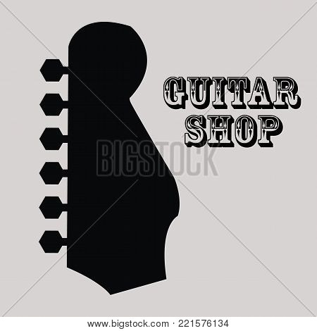 Guitar shop. Guitar icon.on a gray background