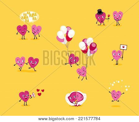 Love story. A collection of animated hearts, a loving guy and a girl in different situations. Isolated groups of characters, illustrations for Valentine's Day, Wedding, Engagement. Vector set 2.