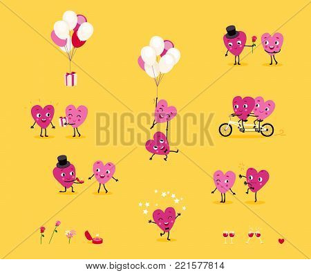Love story. A collection of animated hearts, a loving guy and a girl in different situations. Isolated groups of characters, illustrations for Valentine's Day, Wedding, Engagement. Vector set 1.