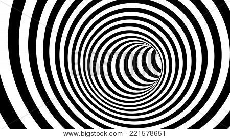 Black and white hypnotic spiral. 3d rendering