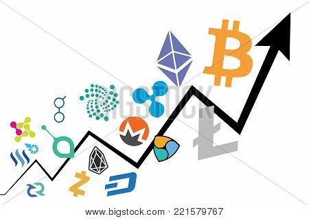 Conceptual Illustration Of Bitcoin Price Increase And Cryptocurrency Bubble