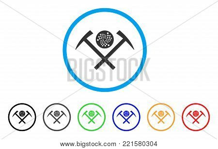 Iota Mining Hammers rounded icon. Style is a flat grey symbol inside light blue circle with additional color variants. Iota Mining Hammers vector designed for web and software interfaces.