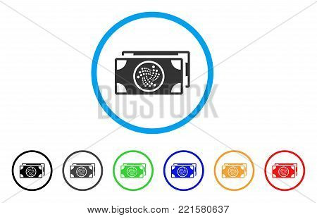 Iota Banknotes rounded icon. Style is a flat gray symbol inside light blue circle with bonus colored variants. Iota Banknotes vector designed for web and software interfaces.