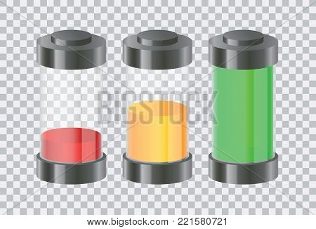 Three vector realistic steps of battery recharge or project status isolated on transparent background