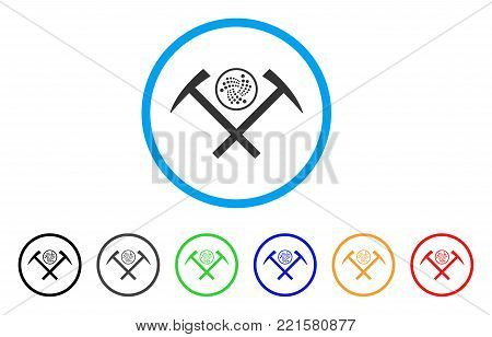 Iota Mining Hammers rounded icon. Style is a flat grey symbol inside light blue circle with bonus colored variants. Iota Mining Hammers vector designed for web and software interfaces.