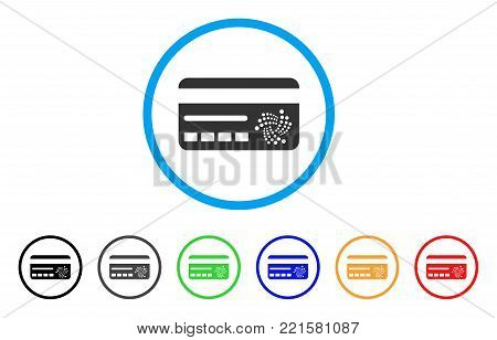 Iota Banking Card rounded icon. Style is a flat grey symbol inside light blue circle with bonus color variants. Iota Banking Card vector designed for web and software interfaces.