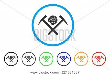 Iota Coin Mining Hammers rounded icon. Style is a flat gray symbol inside light blue circle with additional color variants. Iota Coin Mining Hammers vector designed for web and software interfaces.