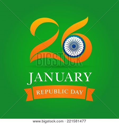 26 January illustration of Happy Indian Republic day celebration with card in national flag colors. Vector poster or banner background Indian Republic day 26 January for website header