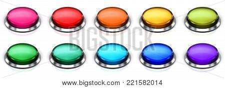 3D render illustration of the set of color glossy push press buttons or icons with shiny metal bezel isolated on white background with reflection effect