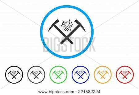 Iota Mining Hammers rounded icon. Style is a flat grey symbol inside light blue circle with bonus colored versions. Iota Mining Hammers vector designed for web and software interfaces.