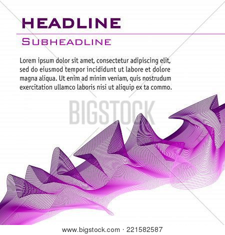 Wave pattern in purple and pink. Abstract vector background. Technology layout for book, magazine covers. Artistic template for invitations, posters, leaflets, flyers, portfolio, web pages, booklets. EPS10 illustration