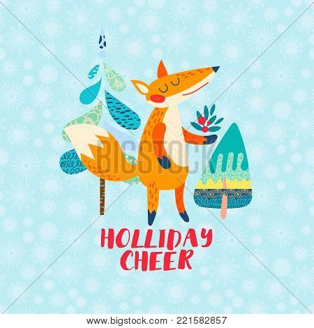 Holliday cheer Cartoon red fox greeting card. Funny cute animal stands with a bouquet of berries. For prints for children s clothing, bag childish poster, invitation Forest character vector