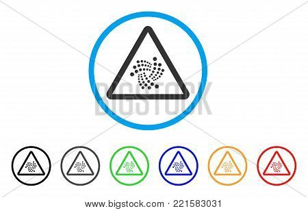 Iota Warning rounded icon. Style is a flat grey symbol inside light blue circle with bonus colored versions. Iota Warning vector designed for web and software interfaces.