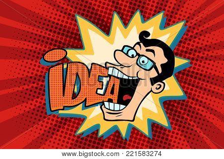 idea and man, the joyful businessman. Comic book cartoon pop art retro drawing illustration