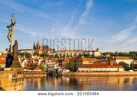 The view of the historical quarter Hradschin in Prague