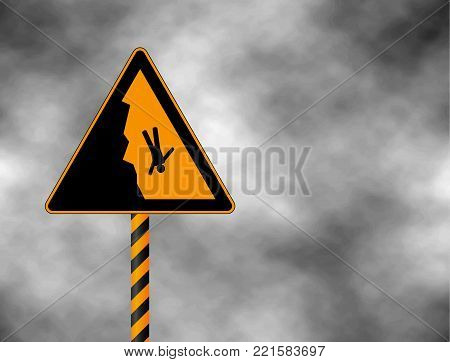 Danger cliff edge warning sign. Warning sign in the mountains for skiers and snowboarders during heavy snowfall. Vector illustration caution danger of falling isolated on a grey sky