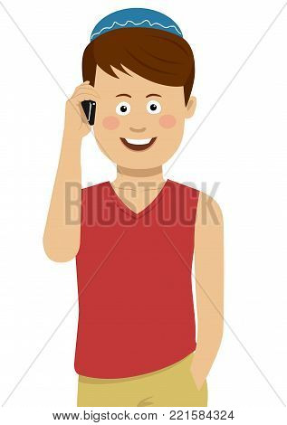 Jewish boy wearing blue bale talking on the phone on white
