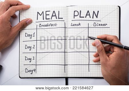 High Angle View Of A Person's Hand Filling Meal Plan In Notebook