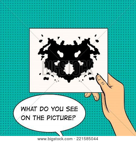 Rorschach test in hand pop art retro vector illustration. Color background. Text bubble. Comic book style imitation.