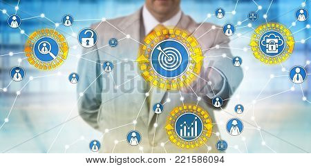 Unrecognizable businessman identifying customer metrics. Technology concept for marketing insight, building customer connections, securing sensitive data, preventing risk, safeguarding information.