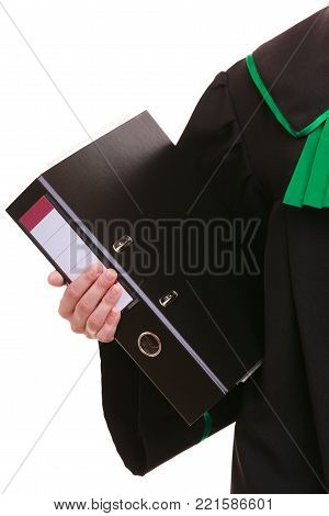 Law court or justice concept. woman lawyer attorney wearing classic polish (Poland) black green gown with file folder or dossier isolated on white background