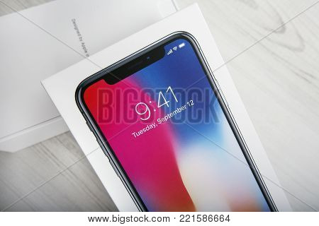 TEL AVIV, ISRAEL - NOVEMBER 23, 2017: Iphone X smart phone. Latest Apple Iphone 10 mobile phone. Illustrative editorial. Newest Iphone with touch screen