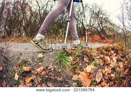 A Girl With Trekking Sticks.