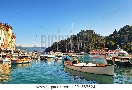 Beautiful view in Portofino town . in Italy