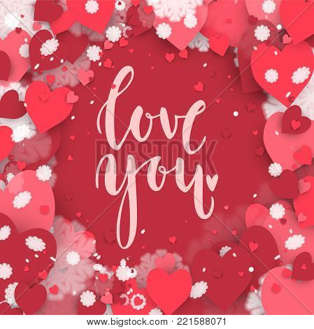 Love you. Hand drawn lettering on the hearts background. Romantic Valentine's Day card. Stock vector